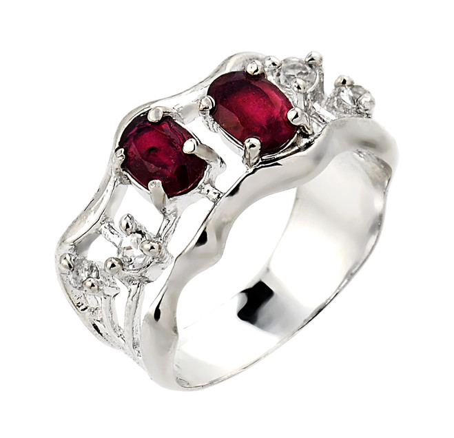 Ruby and white topaz gemstone ladies ring in 925 sterling silver.