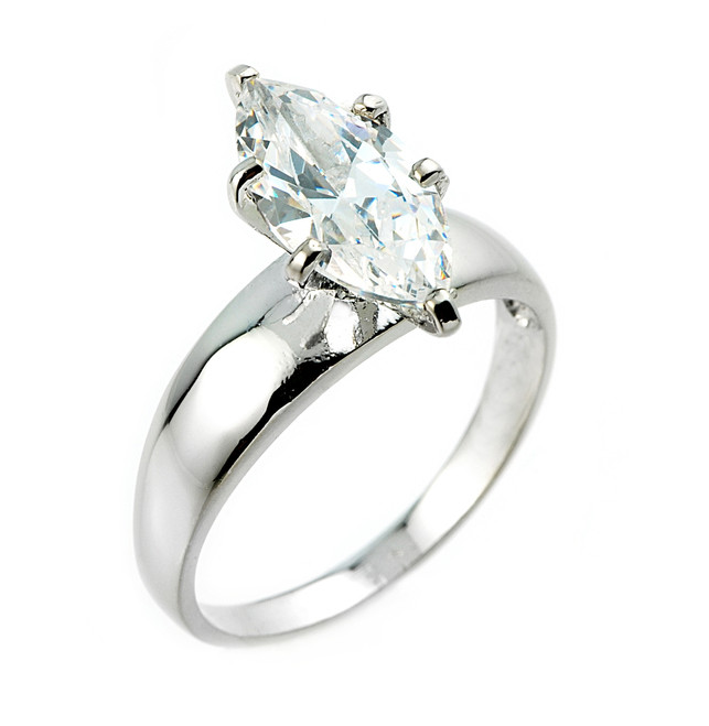 White Gold Marquise CZ Solitaire Engagement Ring