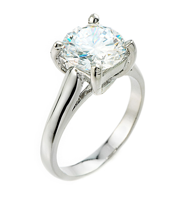 White Gold 5 ct (9.5 mm) CZ Solitaire Engagement Ring