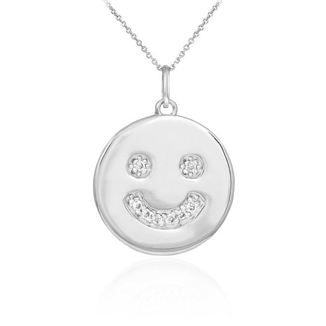 14k White Gold Smiley Face Diamond Pendant Necklace