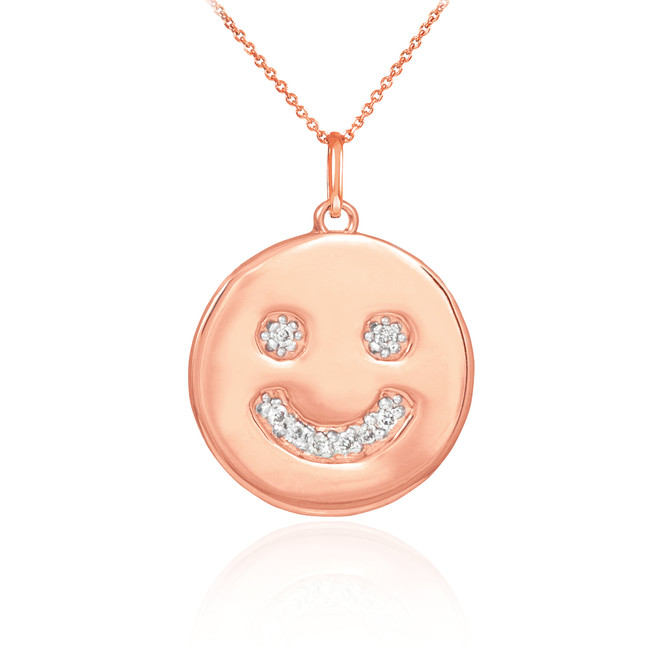 14k Rose Gold Smiley Face Diamond Pendant Necklace