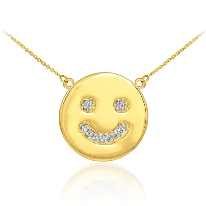 14k Gold Smiley Face Diamond Necklace