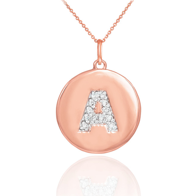 "14k Rose Gold Letter ""A"" Initial Diamond Disc Pendant Necklace"