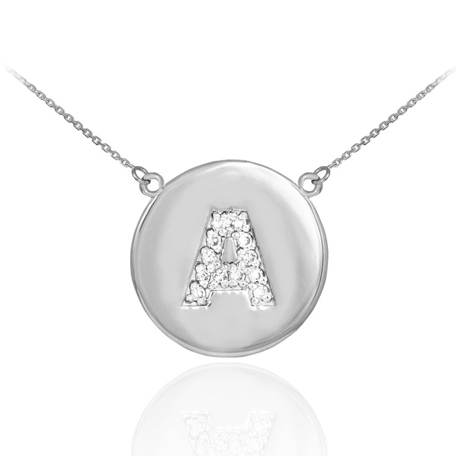 "14k White Gold Letter ""A"" Initial Diamond Disc Necklace"