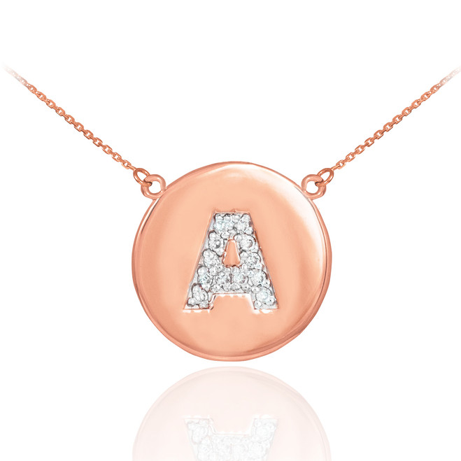 """14k Rose Gold Letter """"A"""" Initial Diamond Disc Necklace"""