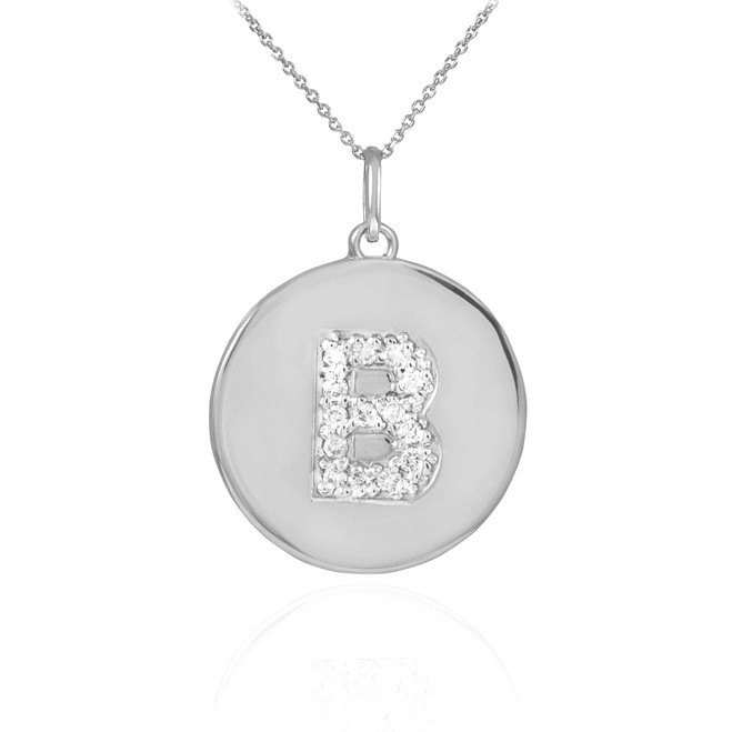 "White Gold Letter ""B"" Initial Diamond Disc Pendant Necklace"