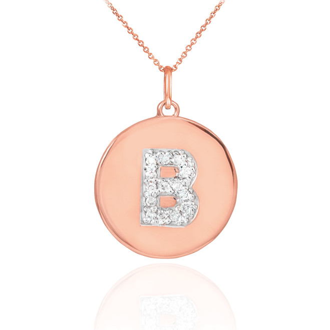 "14k Rose Gold Letter ""B"" Initial Diamond Disc Pendant Necklace"
