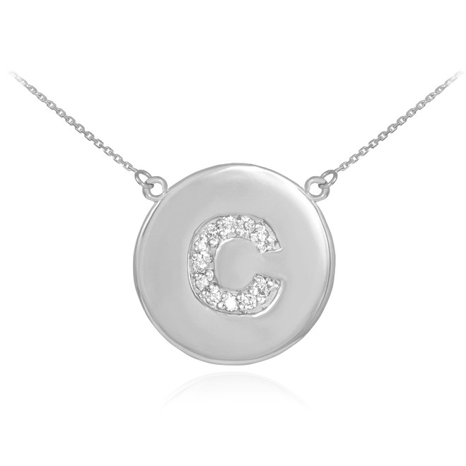 """Letter """"C"""" disc necklace with diamonds in 14k white gold."""