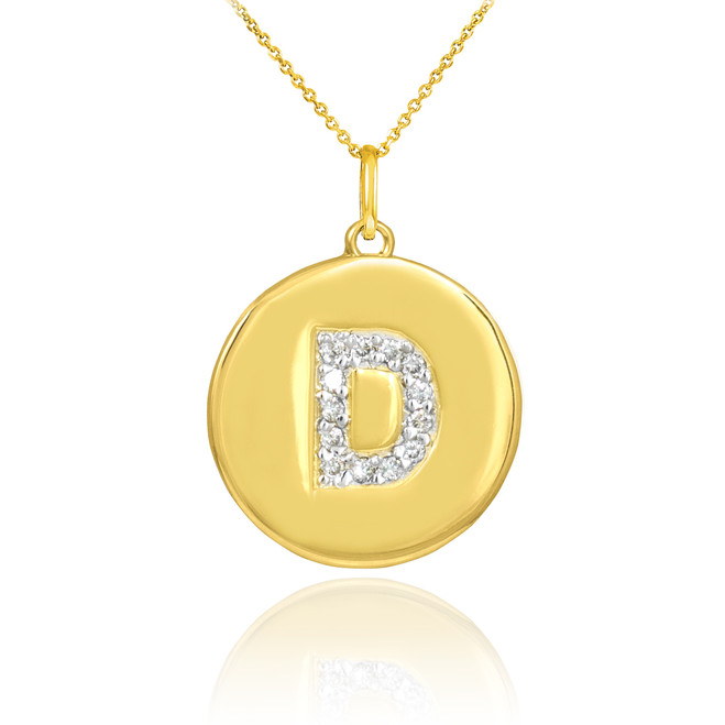 "Letter ""D"" disc pendant necklace with diamonds in 10k or 14k yellow gold."