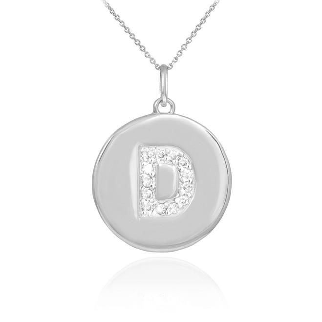"White Gold Letter ""D"" Initial Diamond Disc Pendant Necklace"