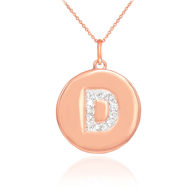 "Letter ""D"" disc pendant necklace with diamonds in 14k rose gold."