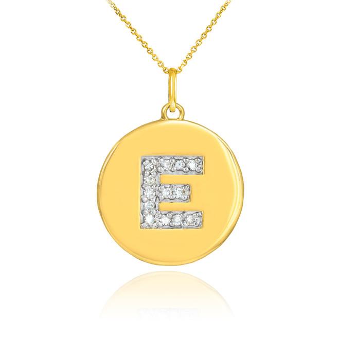 "Gold Letter ""E"" Initial Diamond Disc Pendant Necklace"