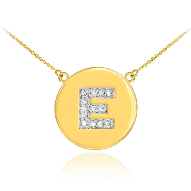 """Letter """"E"""" disc necklace with diamonds in 14k yellow gold."""