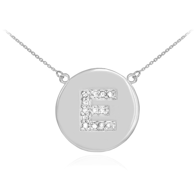 """Letter """"E"""" disc necklace with diamonds in 14k white gold."""