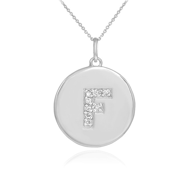 "White Gold Letter ""F"" Initial Diamond Disc Pendant Necklace"