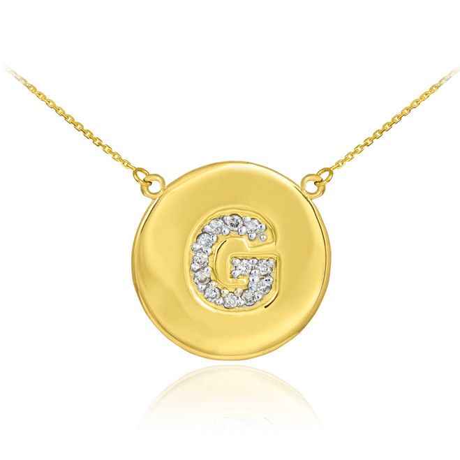 "14k Gold Letter ""G"" Initial Diamond Disc Necklace"