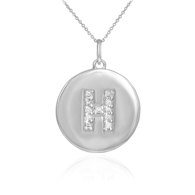 "White Gold Letter ""H"" Initial Diamond Disc Pendant Necklace"