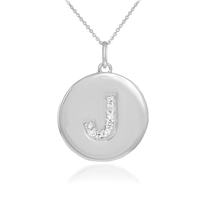"White Gold Letter ""J"" Initial Diamond Disc Pendant Necklace"