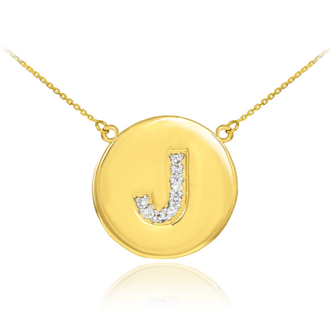 """Letter """"J"""" disc necklace with diamonds in 14k yellow gold."""