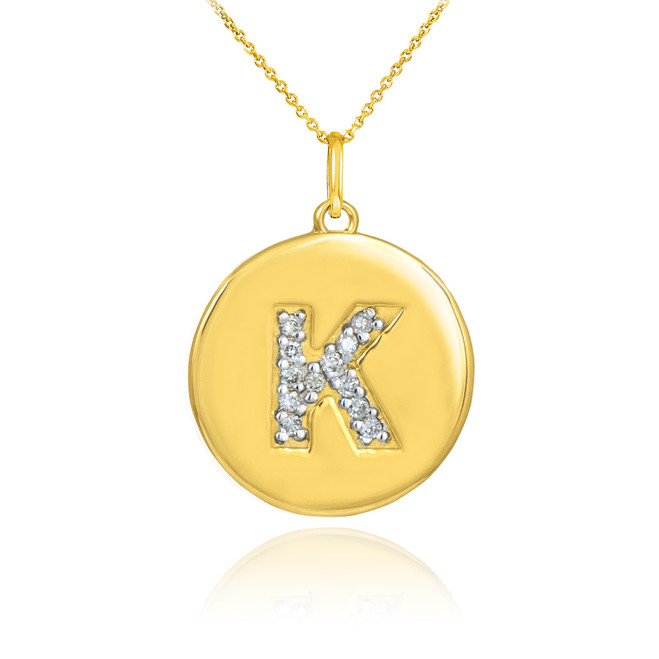 "Gold Letter ""K"" Initial Diamond Disc Pendant Necklace"