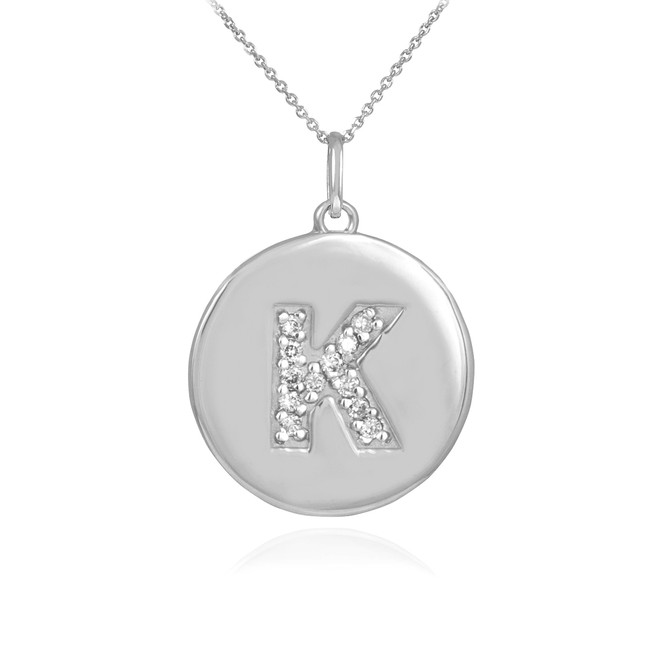 "White Gold Letter ""K"" Initial Diamond Disc Pendant Necklace"