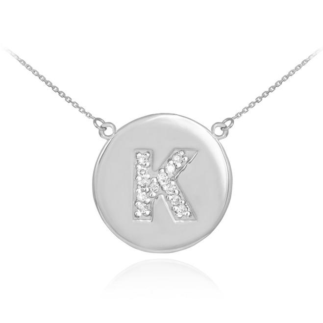 "14k White Gold Letter ""K"" Initial Diamond Disc Necklace"