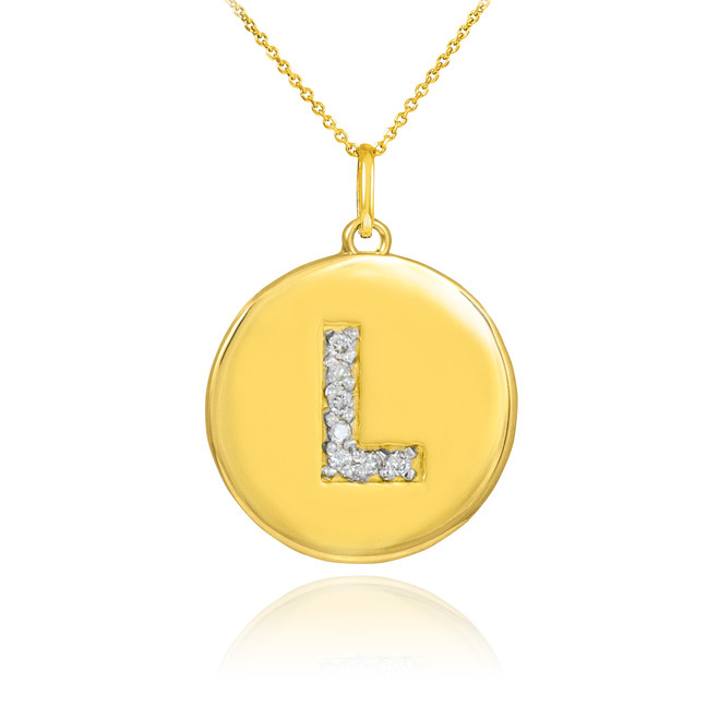 """Letter """"L"""" disc pendant necklace with diamonds in 10k or 14k yellow gold."""