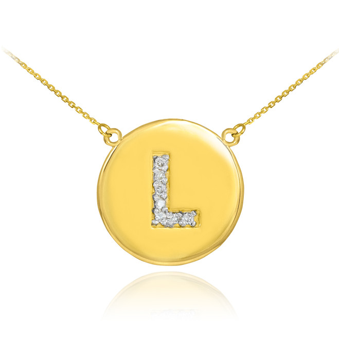 """Letter """"L"""" disc necklace with diamonds in 14k yellow gold."""