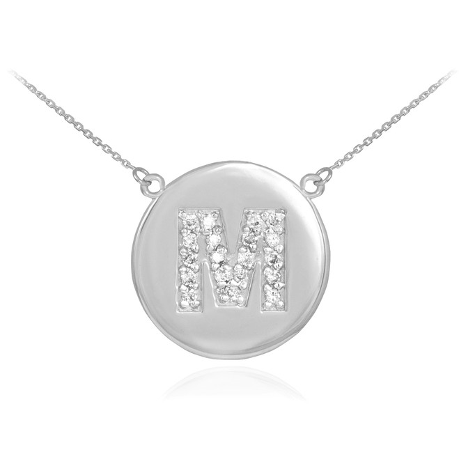 """14k White Gold Letter """"M"""" Initial Diamond Disc Necklace"""