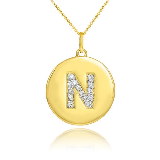 "Gold Letter ""N"" Initial Diamond Disc Pendant Necklace"