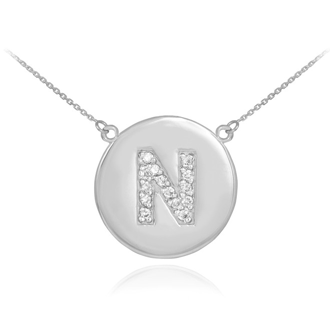"""14k White Gold Letter """"N"""" Initial Diamond Disc Necklace"""