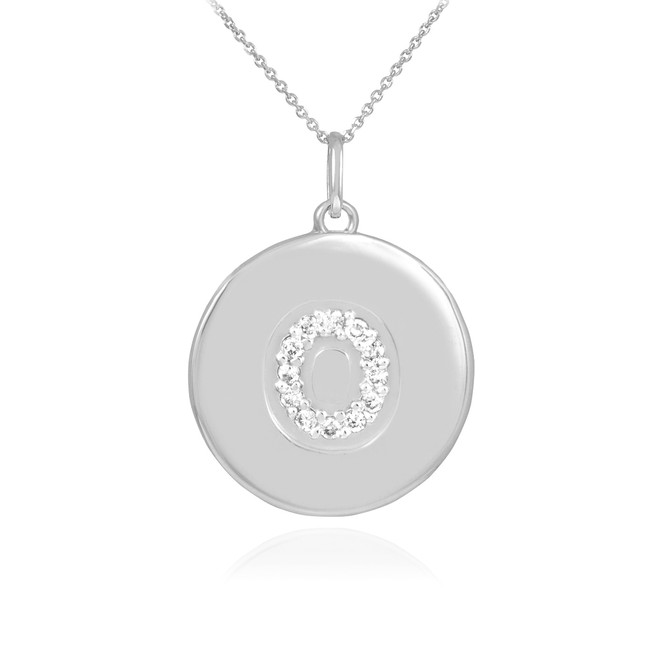 "White Gold Letter ""O"" Initial Diamond Disc Pendant Necklace"