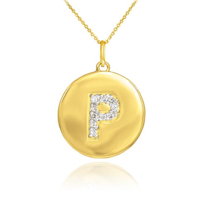 """Gold Letter """"P"""" Initial Diamond Disc Pendant Necklace"""