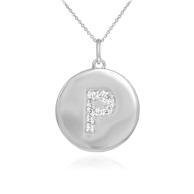 "White Gold Letter ""P"" Initial Diamond Disc Pendant Necklace"
