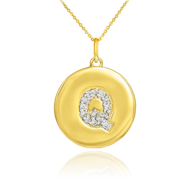 "Gold Letter ""Q"" Initial Diamond Disc Pendant Necklace"
