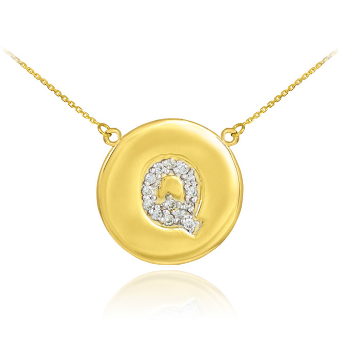 "14k Gold Letter ""Q"" Initial Diamond Disc Necklace"