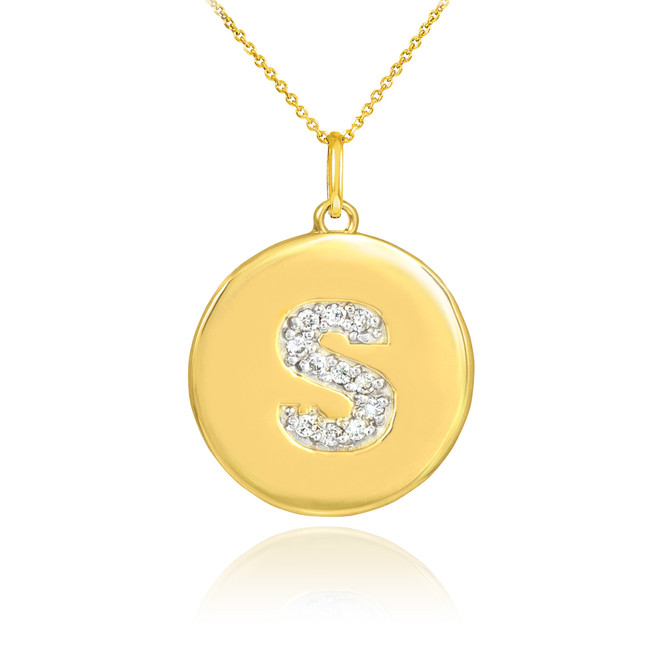 "Gold Letter ""S"" Initial Diamond Disc Pendant Necklace"
