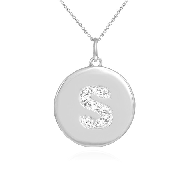"White Gold Letter ""S"" Initial Diamond Disc Pendant Necklace"