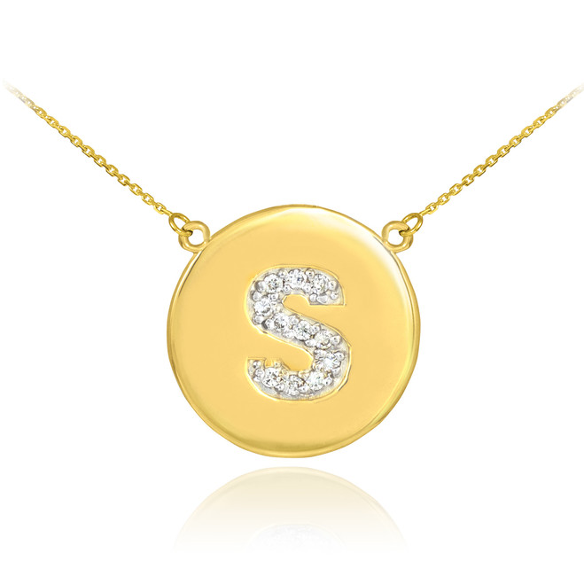 "14k Gold Letter ""S"" Initial Diamond Disc Necklace"