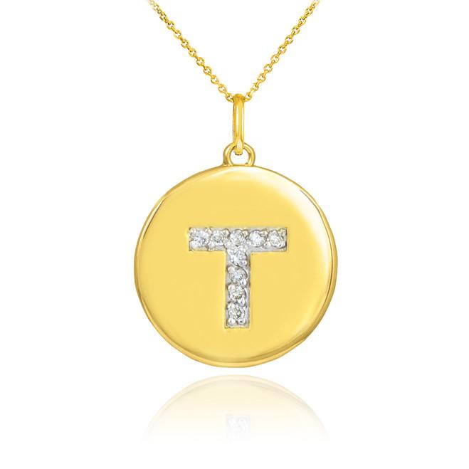 "Gold Letter ""T"" Initial Diamond Disc Pendant Necklace"