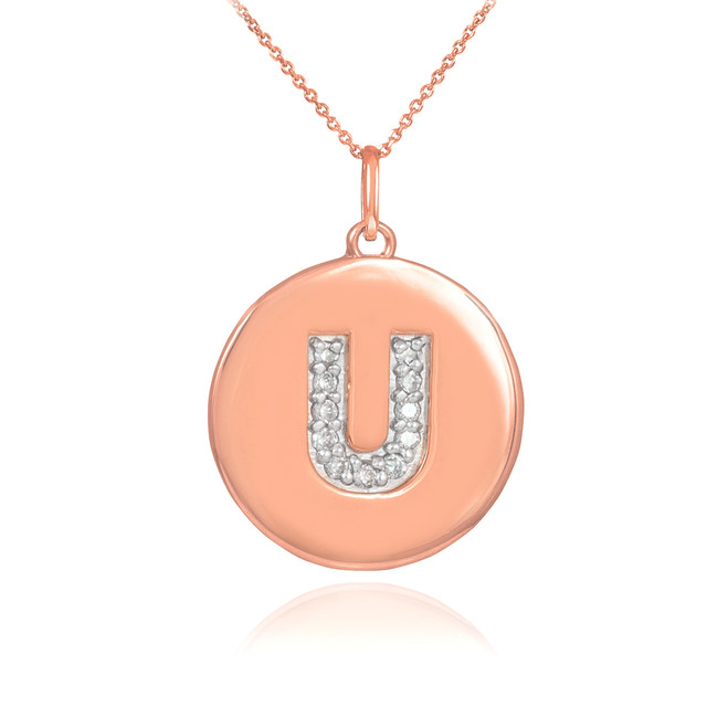 "14k Rose Gold Letter ""U"" Initial Diamond Disc Pendant Necklace"