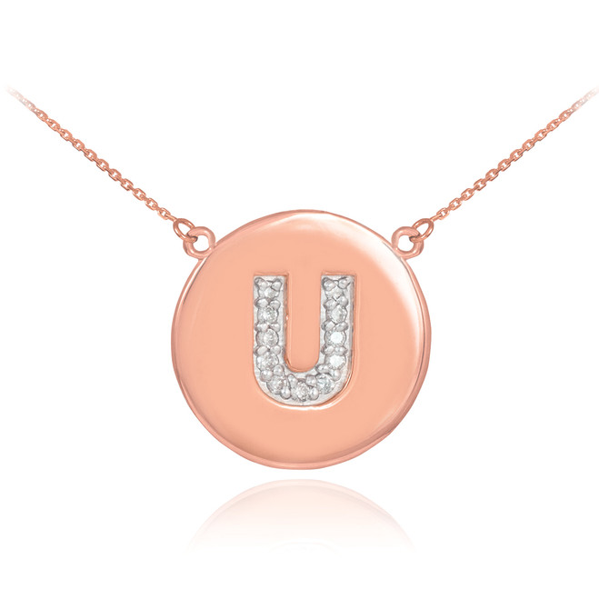 "14k Rose Gold Letter ""U"" Initial Diamond Disc Necklace"
