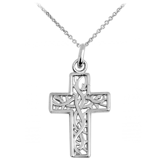 White Gold Celtic Irish Trinity Cross Pendant Necklace