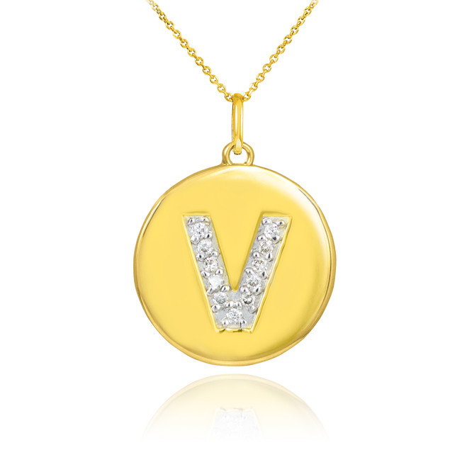 "Gold Letter ""V"" Initial Diamond Disc Pendant Necklace"