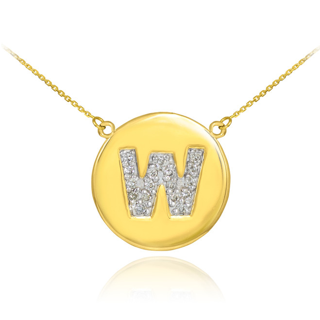 """14k Gold Letter """"W"""" Initial Diamond Disc Necklace"""