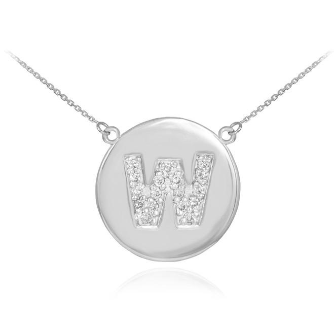 """14k White Gold Letter """"W"""" Initial Diamond Disc Necklace"""