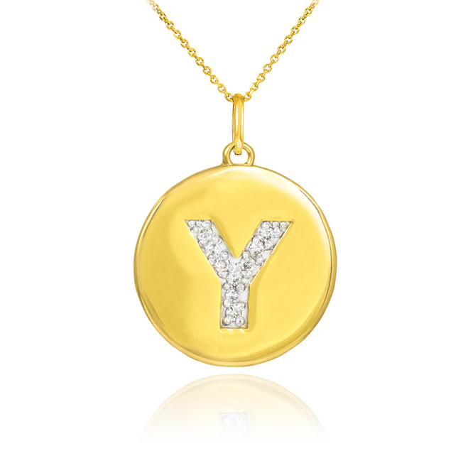 "Gold Letter ""Y"" Initial Diamond Disc Pendant Necklace"