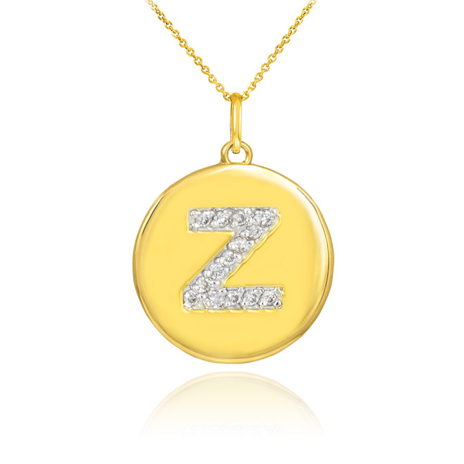 "Gold Letter ""Z"" Initial Diamond Disc Pendant Necklace"