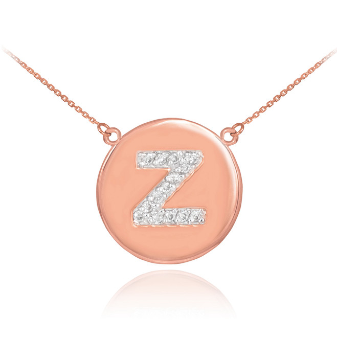 "14k Rose Gold Letter ""Z"" Initial Diamond Disc Necklace"