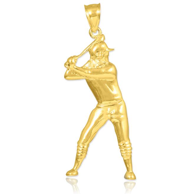 Yellow Gold Baseball Batter Sports Charm Pendant Necklace